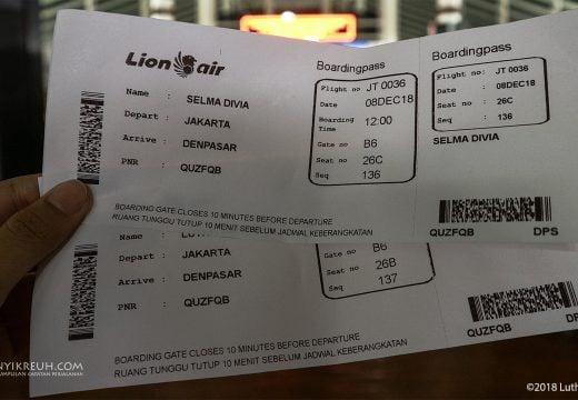 Boarding Pass Menuju Bali