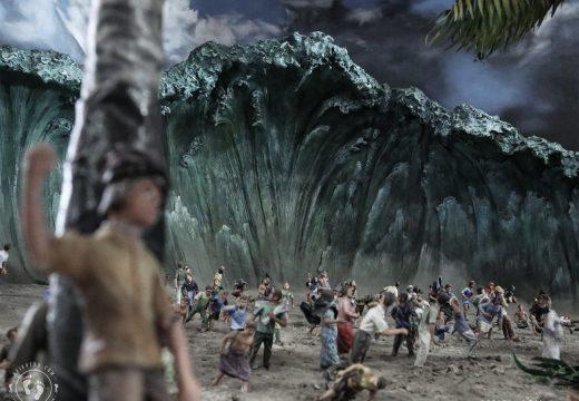 Diorama kilas balik saat tsunami menerjang