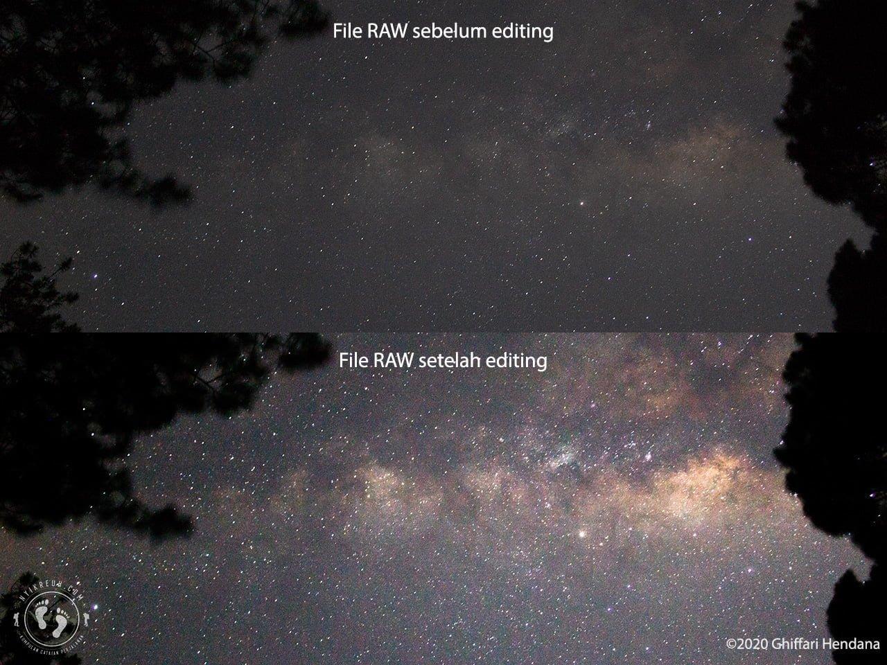 Format File Raw untuk memfoto Galaksi Bima sakti